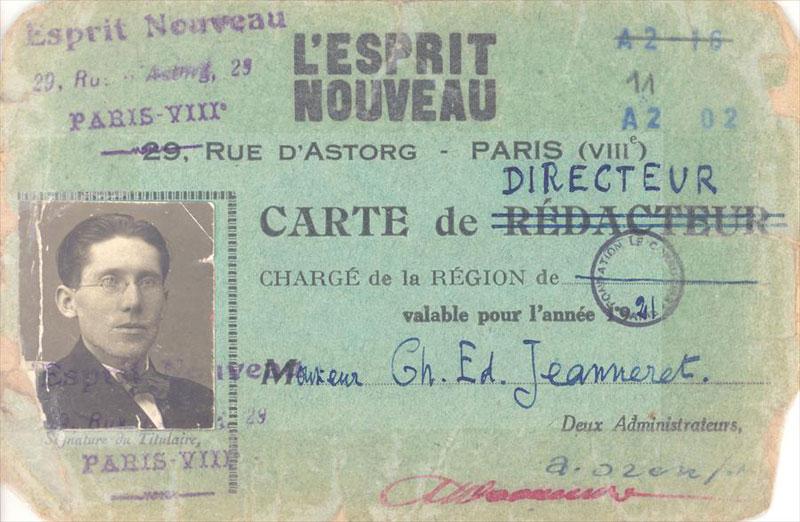 """Удостоверение Шарля-Эдуарда Жаннере - директора журнала """"L'Esprit Nouveau"""""""