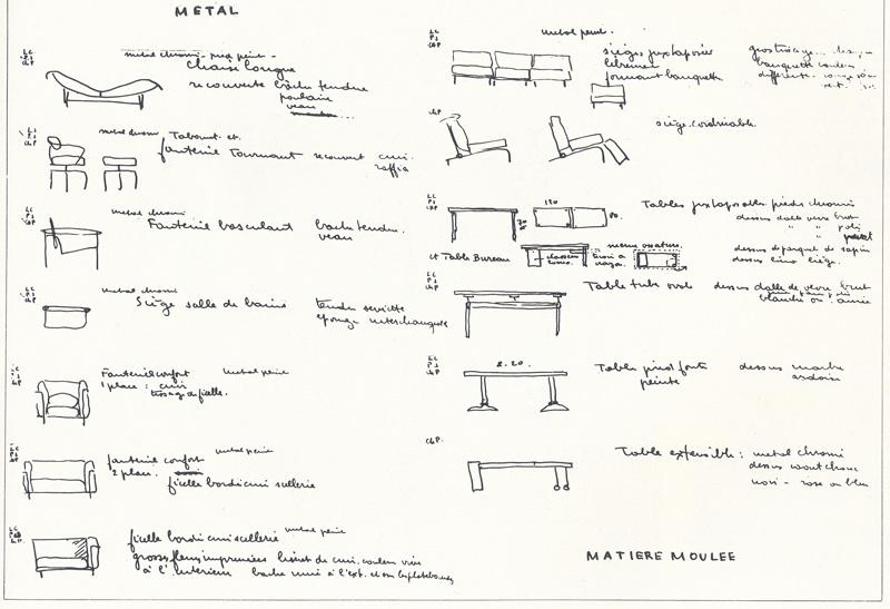 Перечень металлической мебели, спроектированной Ле Корбюзье, Пьером Жаннере и Шарлоттой Перриан (у каждого образца — инициалы автора)