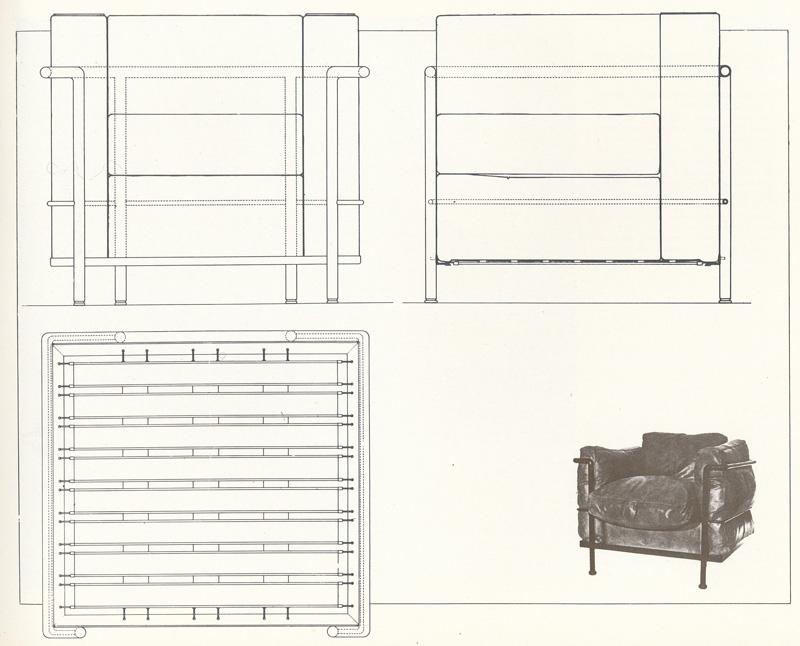 Кресло LC2. Le Corbusier. Ле Корбюзье. 1929. Рабочие чертежи «Комфортабельного кресла» (малая модель)